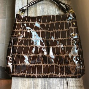 Big Buddha Chocolate Brown Faux Croc Bag